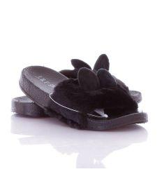 Cuki füles, szőrmés pántú női gumi papucs (806-2)