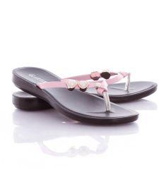 Szív alakú gyöngyös pántos, lábujjközös női gumi papucs (NY-36)
